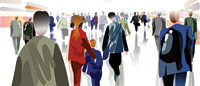 Illustration of people walking